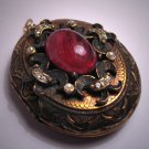 Antique Ruby Pearl Locket Vintage Victorian Large Size