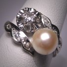 Antique Diamond Wedding Ring Vintage Pearl Edwardian WG