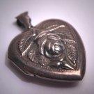 Antique Silver Heart Locket Pendant Vintage Victorian