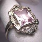 Antique Morganite Ring Vintage Art Deco Wedding Emerald