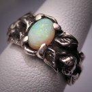 Vintage Art Nouveau Opal Ring Victorian Floral Silver