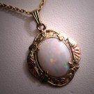 Antique Opal Pendant Necklace Victorian Deco Vintage
