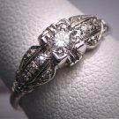 Antique Diamond Wedding Ring Vintage Platinum Art Deco