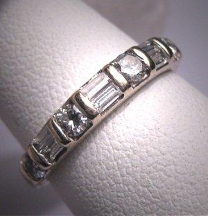 SOLD Antique Diamond Wedding Band Ring Vintage Art Deco 50s