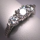 Diamond Wedding Ring Band Antique Style Vintage 1.15ct
