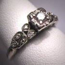 Antique Diamond Wedding Ring Vintage Art Deco Wht Gold