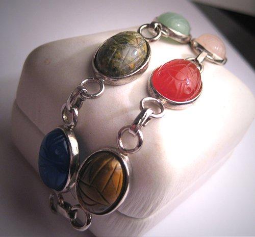 Vintage Scarab Bracelet Jade Carnelian Silver Art Deco
