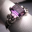 Antique Amethyst Ring Vintage Art Deco Wedding Wht Gold