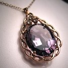 Vintage Estate Large Amethyst Pendant Retro Deco Gems