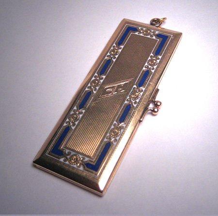 Antique Gold Enameled Locket Victorian Art Deco Pendant