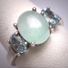 Vintage Jade Blue Topaz Ring Retro Art Deco Style Wedding - Band Silver