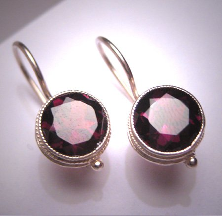 Vintage Garnet Earrings Victorian Georgian Revival Etruscan Silver