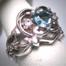 Vintage Blue Topaz White Sapphire Wedding Ring Band Art Nouveau Deco