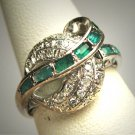 Antique Emerald Diamond Wedding Ring Vintage Art Deco 1920 Moon Motif