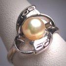 Antique Pearl Ring Vintage Art Deco Wedding Filigree Victorian Akoya