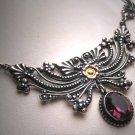 Vintage Victorian Amethyst Necklace Sterling Silver Floral Filigree