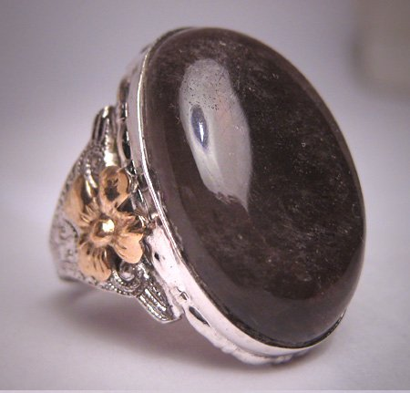 Antique Victorian Smokey Quartz Ring Gold Floral Art Deco 1900