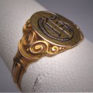 Antique Ornate Gold Signet Ring Wedding Band Victorian