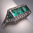 Antique Emerald Wedding Ring Vintage Art Deco Filigree 1930 Engagement
