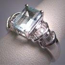 Vintage Aquamarine Diamond Wedding Ring Art Deco White Gold Engagement