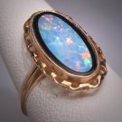 Antique Australian Opal Onyx Ring Retro Victorian Style Gold Filigree