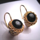 Vintage Georgian Victorian Revival Black Onyx Earrings Gold