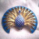 Antique Art Nouveau Enamel Peacock Brooch Pin Art Deco 1930 Vintage