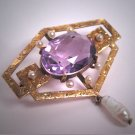 Antique Victorian Amethyst Seed Pearl Gold Brooch Pin Art Nouveau 1890