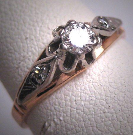 Antique Platinum Diamond Wedding Ring Vintage Art Deco Russian 1930