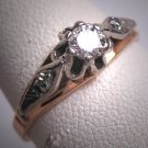 Antique Platinum Diamond Wedding Ring Vintage Art Deco Russian 1930
