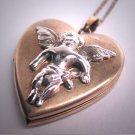 Antique Vintage Angel Locket Necklace Pendant Heart Cherub Retro