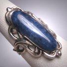Rare Antique Lapis Lazuli Art Nouveau Ring Late Victorian Silver 1890