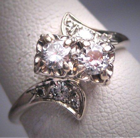 Antique Diamond Wedding Ring Vintage Art Deco .60ct W. Gold Engagement