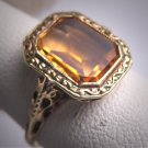 Antique Golden Canary Citrine Ring Victorian Art Deco Wedding c.1900