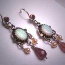 Vintage Victorian Australian Opal Tourmaline Pearl Dangle Earrings
