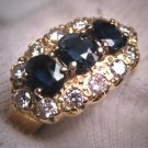 Antique Sapphire Diamond Wedding Ring Band 18CT Gold Deco Engagement