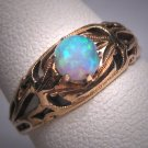 Antique Australian Opal Ring Victorian 14K Gold Wedding Filigree Band