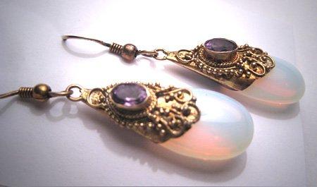 Vintage Amethyst Opalite Earrings Victorian Etruscan Revival Style
