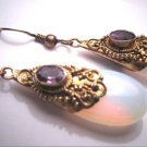 Vintage Amethyst Opalite Earrings Victorian Etruscan Revival Style