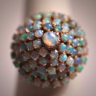 Antique Australian Opal Ring Wedding Cluster 14K Gold Vintage 1950