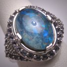 Vintage Tanzanite Diamond Australian Opal Ring Art Deco Wedding Estate