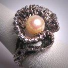 Antique Pearl Ring Vintage Retro Art Deco Modernism Wedding Estate 50s