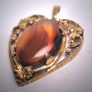 Antique Victorian Agate Heart Pendant for Necklace Vintage Floral 1920