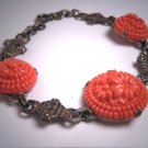 Antique Coral Rose Cut Bracelet Vintage Art Deco 1920 Victorian