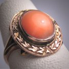 Antique Victorian Coral Ring Engraved Chased Gold 1800's Vintage Band