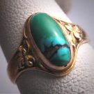 Antique Art Nouveau Turquoise Wedding Ring Band Gold Victorian