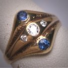 Antique Sapphire Diamond Wedding Ring Edwardian Art Deco 14K Vintage Engagement 1910