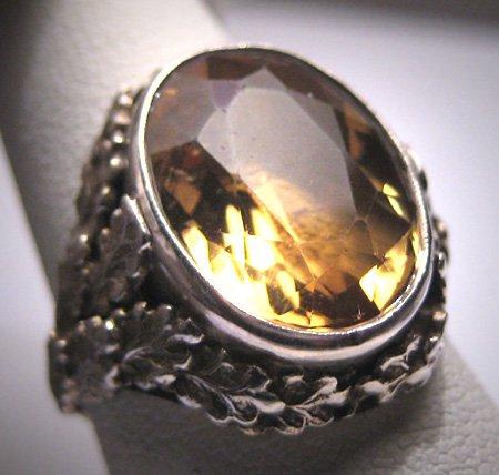 Antique Art Nouveau Citrine Ring Vintage Wedding Deco 1890 Arts Crafts