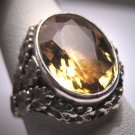 Antique Art Nouveau Citrine Ring Vintage Wedding Deco 1890 Arts Crafts