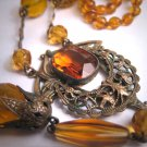Antique Victorian Citrine Necklace Art Deco Czech 1920 Wedding